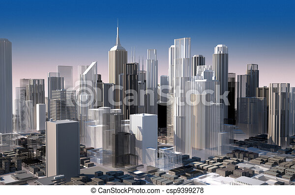 Modern cityscape in daylight. Close up view. - csp9399278