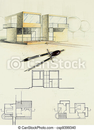 architectural sketch of modern house with compasses - csp9399340
