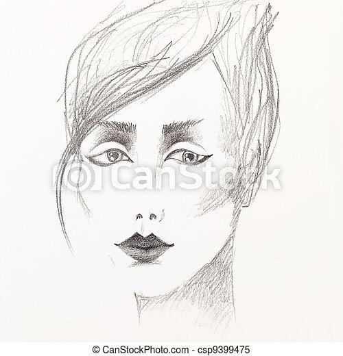 pencil sketch of beautiful woman's face - csp9399475
