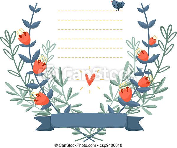 vektor von blumen rahmen hintergrund bunte vogel bunte blumen csp9400018 suchen. Black Bedroom Furniture Sets. Home Design Ideas