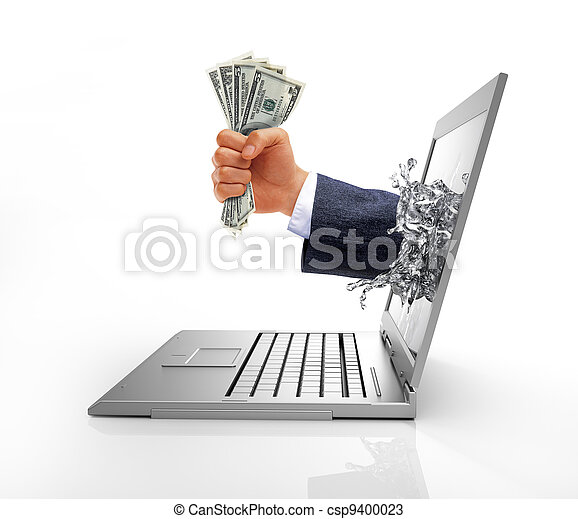 Human hand with money, coming out from computer screen. - csp9400023