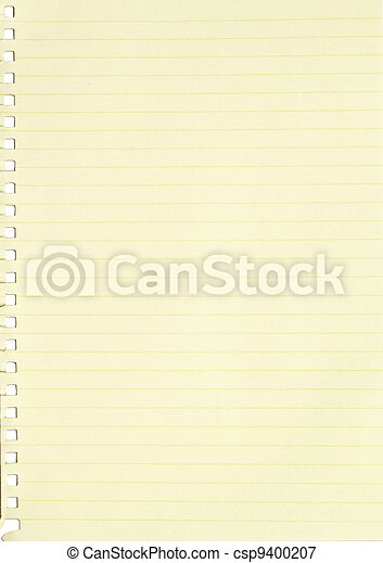 empty sheet of yellow line paper from a notebook
