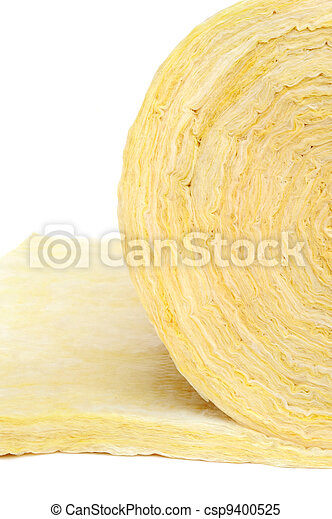 Roll of fiberglass insulation material, isolated on white background. - csp9400525