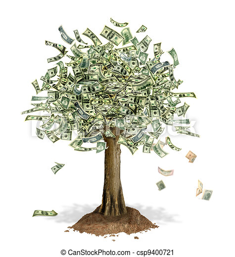 Money Tree with US Dollar bank notes in place of leaves. - csp9400721