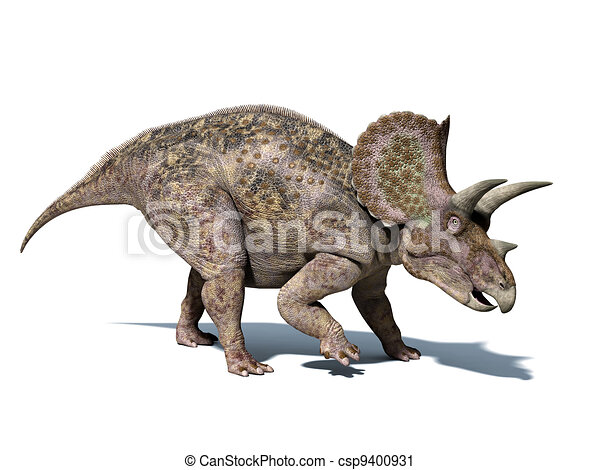 Triceratops dinosaur, very well detailed and scientifically correct. isolated on white background, with . - csp9400931