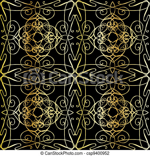 seamless background with filigree - csp9400952