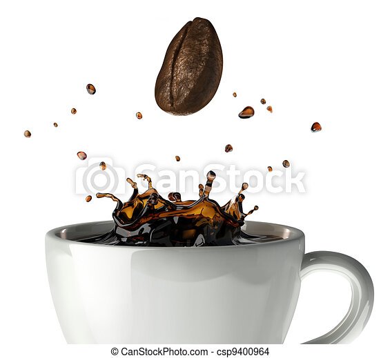 Coffee crown splash in mug. Close up view, with a bean falling down. On white background - csp9400964