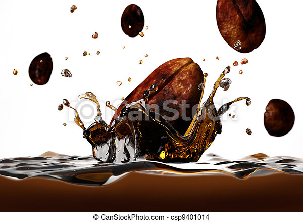 Coffee bean falling into a dark liquid, forming a crown splash, with a few other beans falling around, viewed from a side, very close up. - csp9401014