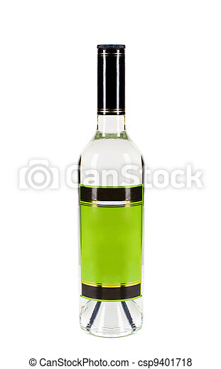 bottle of vodka isolated on white - csp9401718