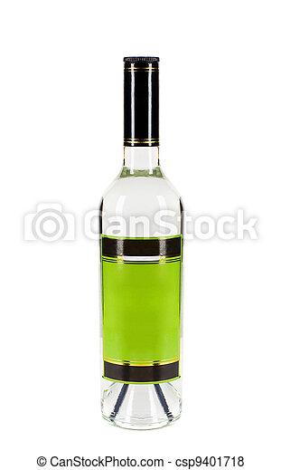 bottle of vodka isolated on white  - csp9401718