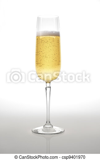 Champagne glass on white surface and background. - csp9401970