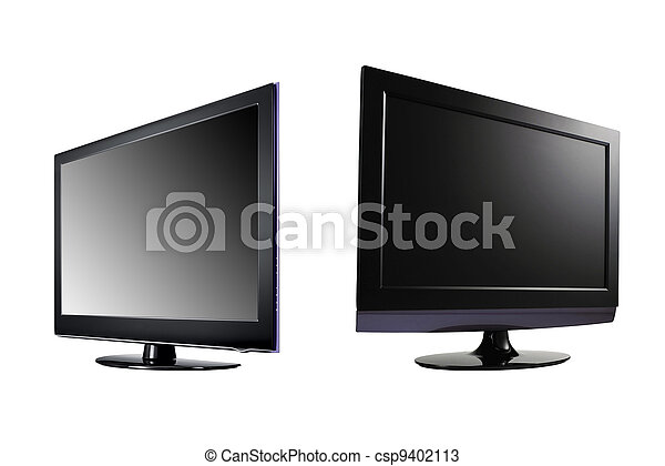 two LCD high definition flat screen TV against white background - csp9402113
