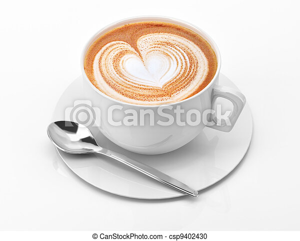 Cappuccino mug close up, with a heart decorated on top of foam. - csp9402430