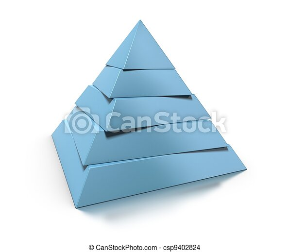 3d pyramid, five levels over white background with glossy reflection and shadow - csp9402824