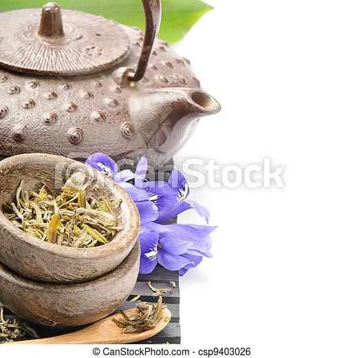Asian tea set with flowers - csp9403026