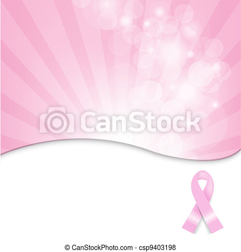 Pink Breast Cancer Ribbon Background - csp9403198