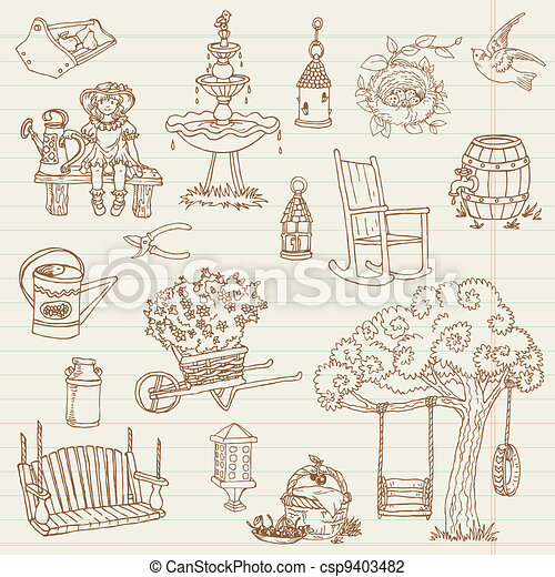 Gardening Hand Drawn Doodles - for scrapbook, design in vector - set 2 - csp9403482