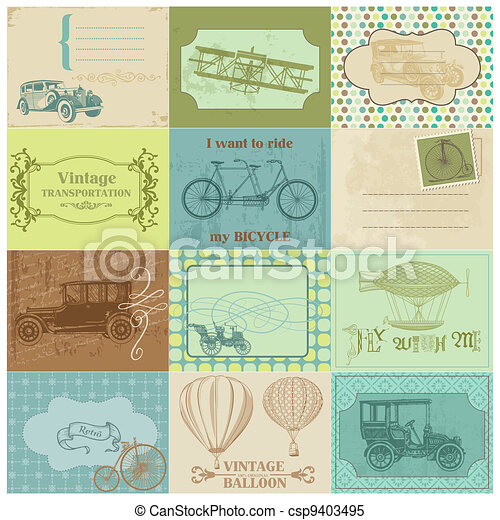 Scrapbook Paper Tags and Design Elements - Vintage Transportation in vector - csp9403495