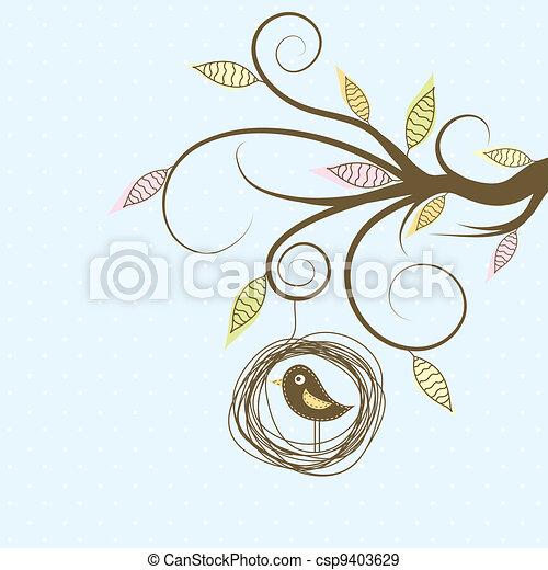Decorative tree and bird, vector - csp9403629