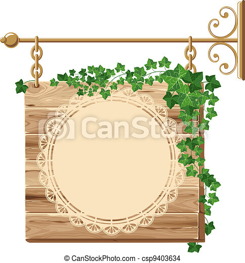 Wooden sign with ivy - csp9403634