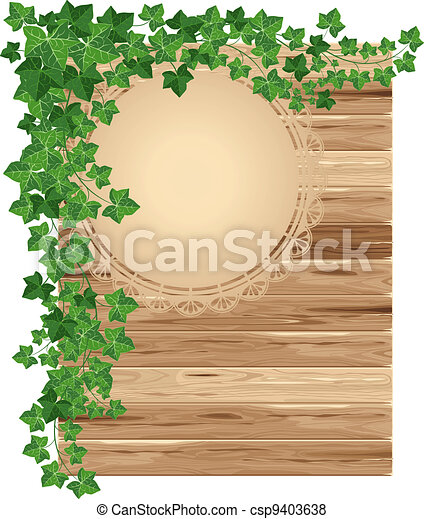 Wooden background with ivy - csp9403638