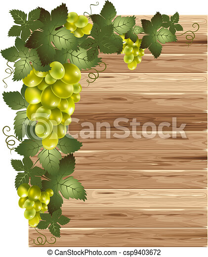 White grapes on a wooden background - csp9403672
