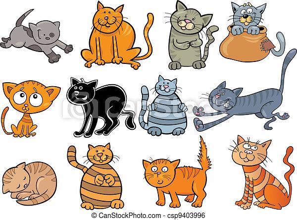 cartoon cats set - csp9403996