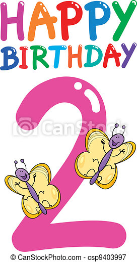second birthday anniversary design - csp9403997