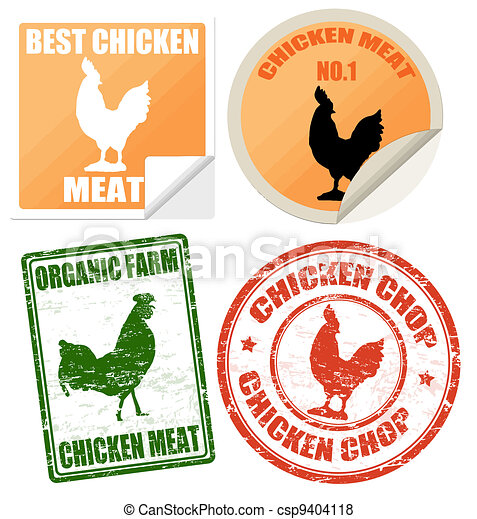 Set of chicken meat labels and stamps - csp9404118