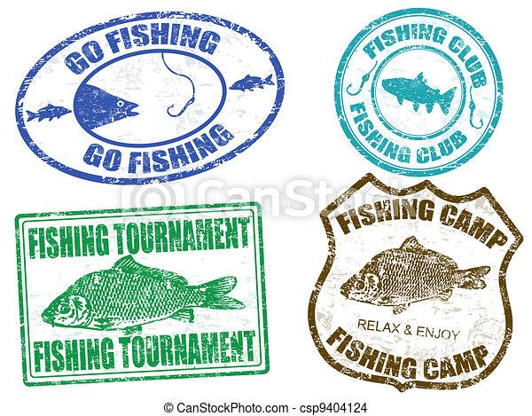 Set of fishing stamps - csp9404124