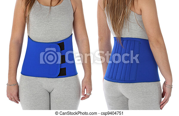 Patient wearing an orthopedic girdle over white - csp9404751