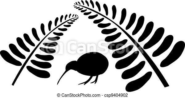 Kiwi bird under fern - csp9404902
