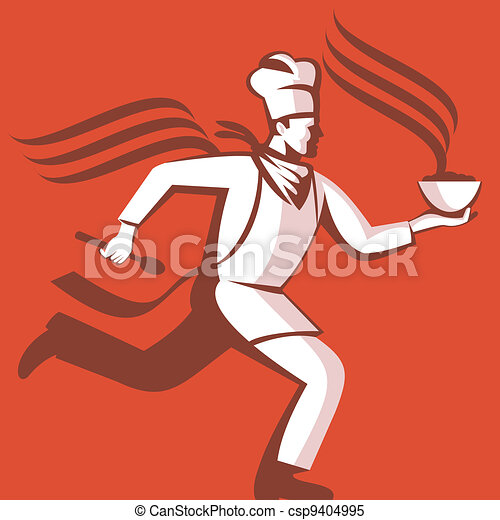 Chef Cook Baker Running With Soup Bowl - csp9404995