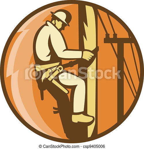 power lineman worker electrician climbing - csp9405006