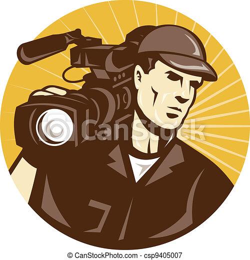 professional cameraman film crew  - csp9405007