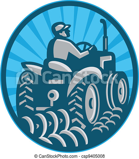 farmer plowing with vintage tractor viewed from the rear set inside oval done in retro style. - csp9405008