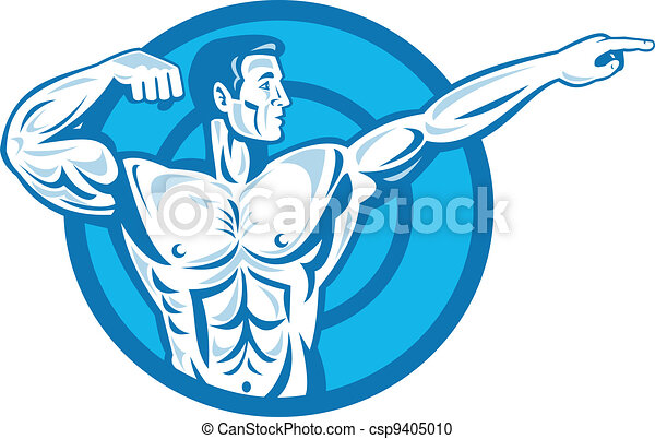 Bodybuilder Flexing Muscles Pointing Side Retro - csp9405010