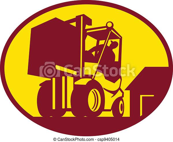 forklift operator operating forklift truck - csp9405014