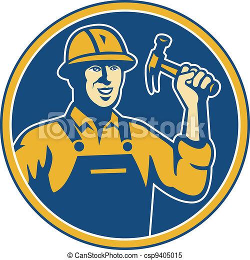 construction worker tradesman laborer hammer  - csp9405015