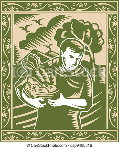 organic farmer with basket full fruits and vegetables done in retro woodcut style. - csp9405016