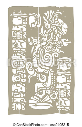 Mayan Vision Serpent and Glyphs - csp9405215