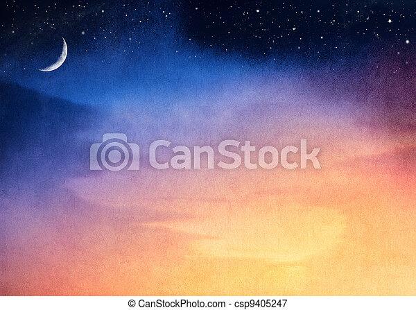 Crescent Moon Sunset - csp9405247