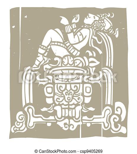 Reclining Mayan Woodblock - csp9405269
