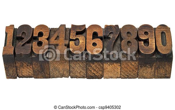 numbers in antique letterpress type - csp9405302