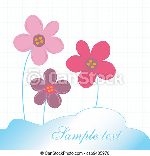 Card with delicate flowers - csp9405970
