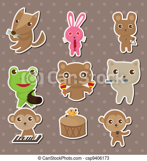 animal play music stickers - csp9406173
