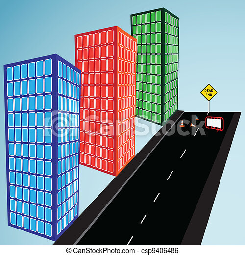 3d buildings and street - csp9406486