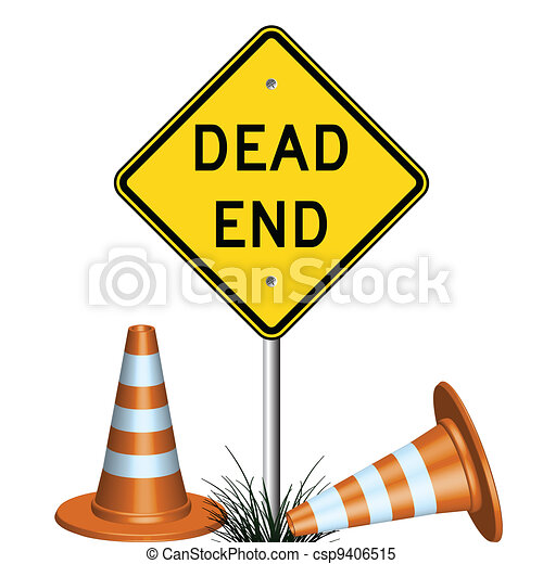 dead end sign and grass - csp9406515