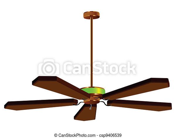 Vettori EPS di soffitto, ventilatore, lampada, isolato - soffitto ...
