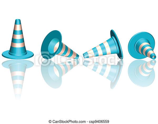 traffic cones reflected - csp9406559